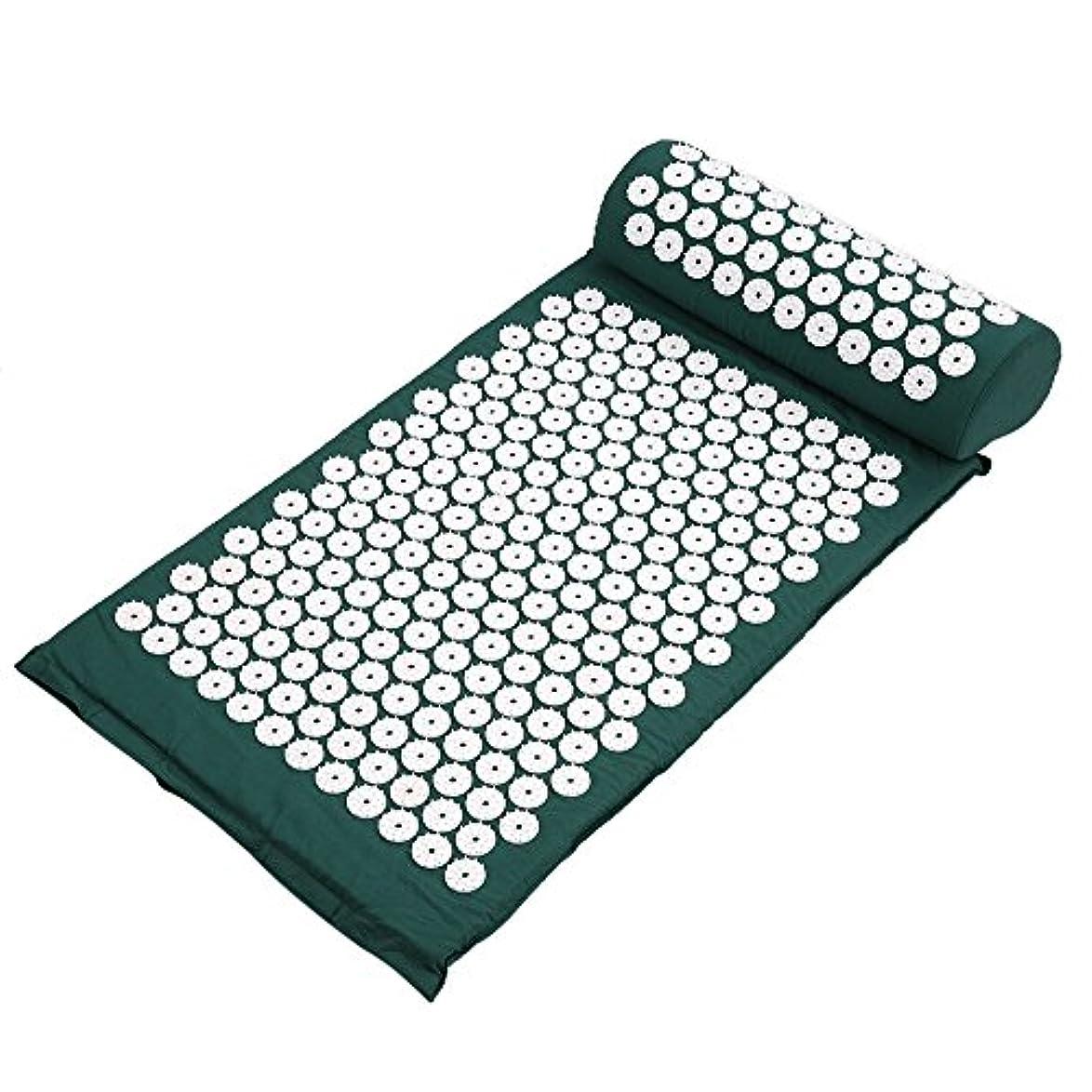 獲物道に迷いました無限大Decdeal ヨガマット マッサージクッション 指圧マット枕 折り畳み 健康 血流促進 (みどり)