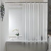 シャワーカーテン 防水 防カビ バスカーテン お風呂カーテン 間仕切り おしゃれ 半透明 お風呂カーテン 取付簡単 カーテンリング付き 120*180CM