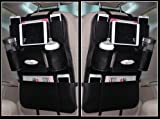 Milkee 車 収納 バッグ  収納・ホルダー  シートバックポケット  カー 後部座席 収納バッグ  レザー製 取り付け簡単 自動車 小物 収納袋  ブラック