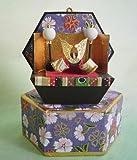 六角収納兜 五月人形飾り(薄紫色)