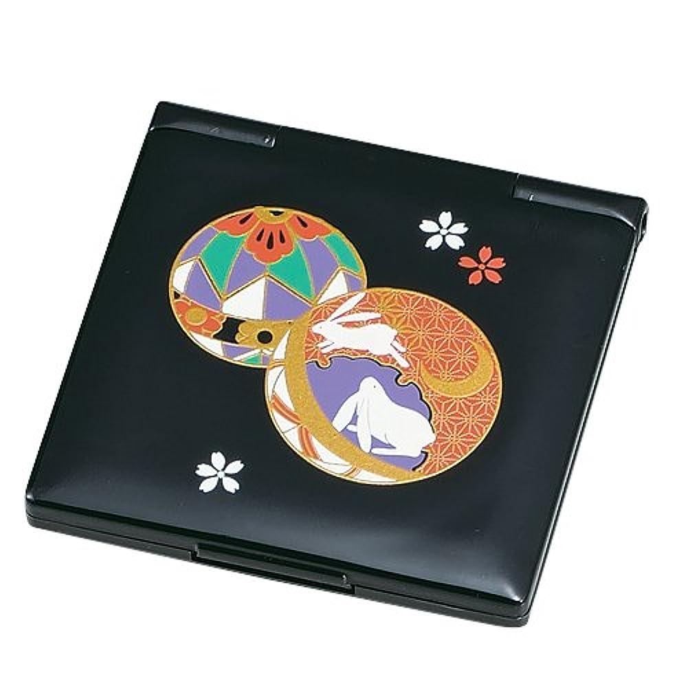 中谷兄弟商会 山中漆器 コンパクトミラー 黒 てまり33-0214