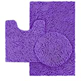 Luxury Home Collection 3 Piece Super Soft Shaggy Chenille Bathroom Rug Set Non-Slip Bath Rug, Contour Mat, and Toilet Lid Cov