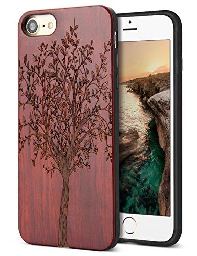 iPhone 7/iPhone 8 ケース 木製 赤 ワイヤ...