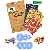 Reusable 4 Beeswax Food Wraps and 6 Silicone Stretch Lids, Sustainable, Plastic Free Alternative for Food Storage, Eco friendly,Durable(4 food wraps: 1 Small, 2 Medium, 1 Large + 6 Pack Silicone Lids)
