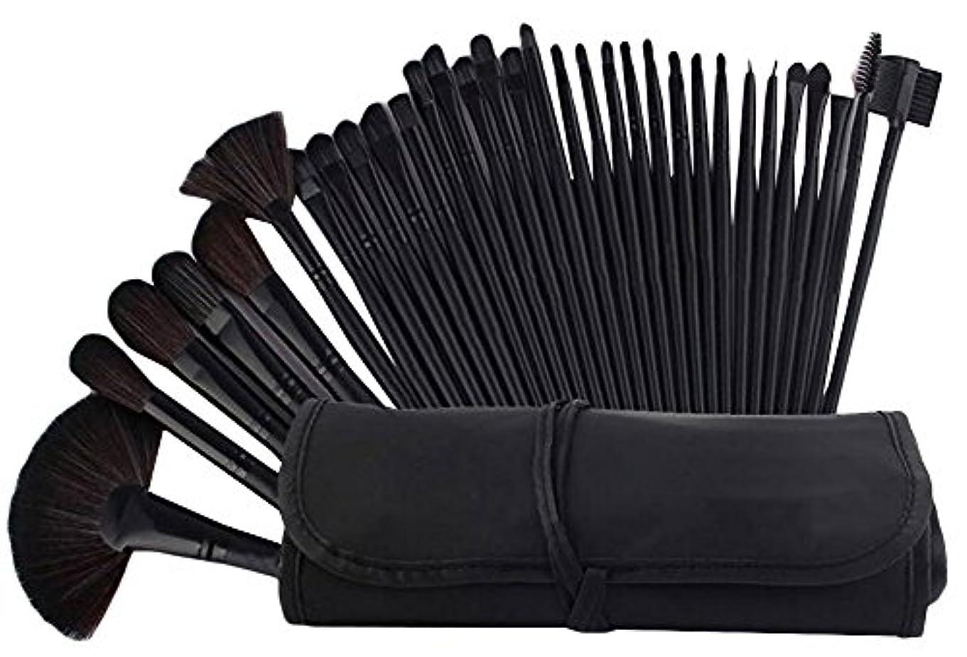 相続人コストエクスタシーIvyOnly メイクブラシセット 32本セット 化粧筆 化粧ブラシ 極細 収納ケース付き 木製ハンドル 布袋 (ブラック)