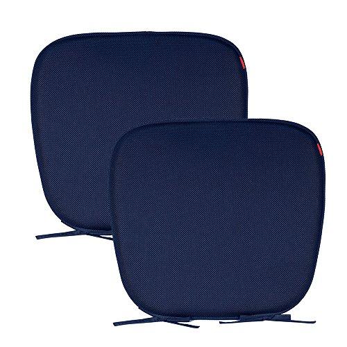 Shinnwa (シンワ)夏用超通気性座布団クッション 丸洗える馬蹄クッション イス用シートクッション ひも付き 46*42*4CM ブルー 2枚入り