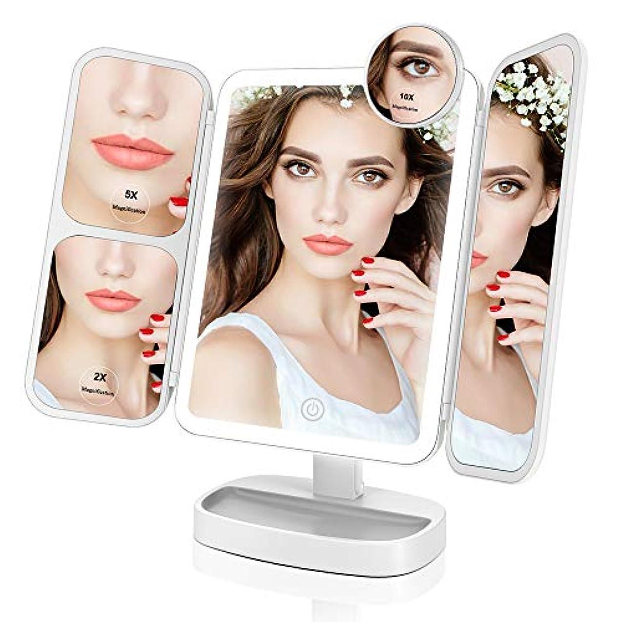 倍増晩餐ペレットEasehold 化粧鏡 三面鏡 化粧ミラー 卓上ミラー 鏡 led付き 折りたたみ 2&5&10倍拡大鏡付き 明るさ調節可能 180°回転 プレゼント(ホワイト)