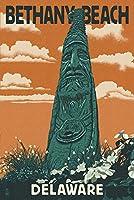 Bethany Beach、デラウェア州–Totem Pole–活版 9 x 12 Art Print LANT-68010-9x12