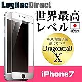 iPhone7/iPhone7 Plus用液晶保護ガラスフィルム ドラゴントレイルX 旭硝子社製ガラス使用(全面保護 0.21mm) Dragontrail X アイフォン 透明クリア 保護フィルム 強化ガラス (iPhone7用, ホワイト)