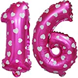 Kesoto バルーン 風船 16歳 16th 数字 飾り付け ホイルバルーン ナンバー16 フォイルバルーン 16周年 記念日 パーティーデコレーション