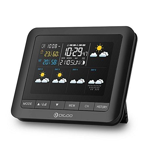 温湿度計 DIGOO 気象計 ワイヤレス 5日天気予報 カラーフル デジタル クリーン 無線 卓上カレンダー スヌーズ アラーム 月相 3センサー対応