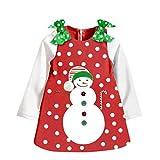 ノーブランド品 赤ちゃん 女の子 子供服 コットン クリスマス パーティー 雪だるま柄 長袖 チュチュ ドレス 全4サイズ選べる - 90センチメートル