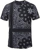 Pizoff(ピゾフ) メンズ 半袖Tシャツ 黒 ペイズリー柄 ストリート TシャツY1778-03-XL