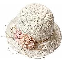 子供のための一般的な夏の旅行日帽子ミルク麦わら帽子ビーチサンハット、ベージュ