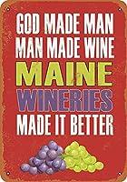 なまけ者雑貨屋 Maine Wineries Make Better Wine ブリキ看板 壁飾り レトロなデザインボード ポストカード サインプレート 【40×30cm】
