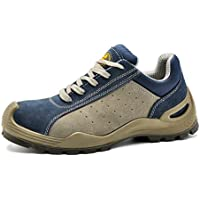 SAFETOE Men Work Shoes with Steel Toe Lightweight Leather ESD Safety Shoes