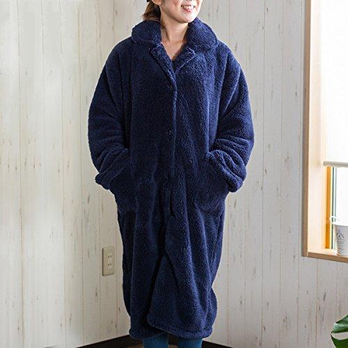 【ふんわり温か 極柔マイクロファイバー着る毛布 シープボア生地仕様】 着丈110cm(Mサイズ) ルームウェア ガウンタイプ 裏地もふかふか 静電気防止加工 2ポケット有 家庭用ウォッシャブル (ネイビー色)