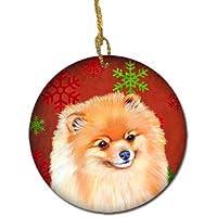 Caroline 's Treasures lh9350-co1ポメラニアンRed Snowflake Holidayクリスマスセラミックオーナメント、マルチカラー
