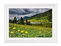 木製の枠 ズックの印刷する絵画 家の壁の装飾画 ポスター (40x60cm ホワイト) 空の雲、花、草、山、湖