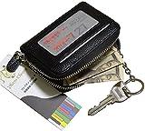 (プレイズショパン) レザー パスケース コイン キー ケース 定期 小銭 ポイント カード 入れ 財布 収納 (1.黒 ブラック)