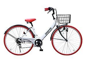 自転車 シティサイクル ママチャリ シマノ製6段変速 26インチ 通勤 通学 街乗り メンズレディース カラー/ホワイトレッド