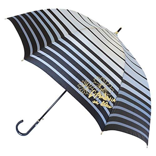 (ランバン オン ブルー)LANVIN en bleu 長傘 【耐風・丈短め】 花×ボーダー 21-084-08840-00 71-60 サックスブルー 親骨の長さ60cm