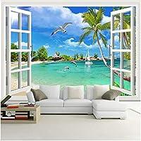 Xbwy カスタム壁画壁紙シーサイドイルカシーガルサニービーチ写真ウォールペーパーリビングルームの寝室の家の装飾-200X140Cm