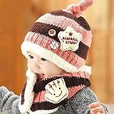 【GOLDEN EGGS】選べる4色 ニット帽子&マフラー セット リボン付き キッズ子供用 誕生日、お祝い、プレゼント かわいい防寒帽子 (薄いピンク&ブラウン)
