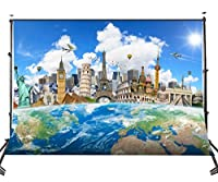 Lyly郡Ployester写真背景7x 5ft The World Famous Buildings With The Earth Studio写真バックドロップProps (アップグレード素材) ly031