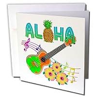 マクドナルドクリエイティブスタジオ–ハワイ–Island Aloha with aウクレレ、音楽ノート、トロピカルフラワー–グリーティングカード Set of 6 Greeting Cards