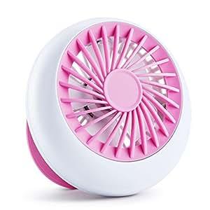 FREETOO 卓上扇風機 USBミニファン 傘に装着可 超軽量 風量3段階調節 5枚羽根 持ち運び便利 ピンク