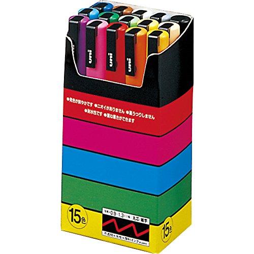 三菱鉛筆 サインペン ユニ ポスカ 細字 15色セット PC-3M15C