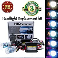FidgetGear DC 55W Car Xenon Headlight Replacement HID KIT H1 H3 H4 H7 H9 H11 9005 881 LQ Light Blue (8000K) 9005 (HB3, 9011)
