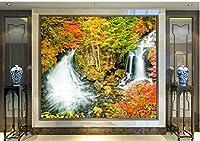 Yosot カスタム 3d の壁画、季節の秋の滝石自然の壁紙、リビングルームのソファテレビウォールの子供のベッドルーム-300cmx210cm