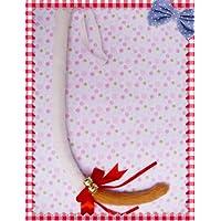 萌えグッズ かわいい リボン & 鈴付き 猫しっぽ 80センチ 白×先っぽキツネ色 コスプレ