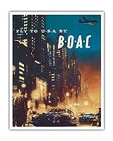 アメリカへ飛ぶ - BOAC (英国海外航空) - ビンテージな航空会社のポスター によって作成された フランク・ウートン c.1950 - アートポスター - 41cm x 51cm