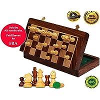 AB handicrafts 10x10 Inch Chess Set - Magnetic Folding Chess Game - Fine Wood Classic Handmade Standard Staunton Ultimate tournament Rosewood Chess Board [並行輸入品]