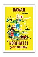 ハワイ - ノースウエスト・オリエント航空 - ビンテージなハワイの旅行のポスター c.1960s - アートポスター - 61cm x 91cm