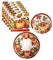 感謝祭Pumpkin Fall HarvestパーティーSuppliesペーパープレートとナプキンバンドル3セットIncludes Dinner Plates、ケーキプレート、、Luncheon Napkins–サービスfor 8