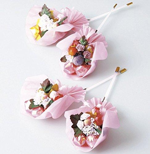 お花と実ものが入ったプチブーケキャンディのプチギフト(砂糖あめのスティックキャンディー2本入り)サイズ:約5.5x8x長さ23cm【結婚式 ホワイトデー 記念品 飴の花束ミニギフト】