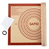 """Sapid Extra Thick Silicone Baking Mat Non-stick for Non-slip Silicone Pastry Mat with Measurements, Dough Rolling Large, Pie Crust, Cookies, Kneading Mat, Countertop, Placement Mats (16"""" x 20"""", Red)"""