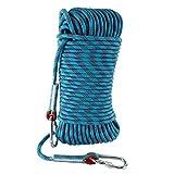 登山用ロープ クライミングロープ 多目的ロープ 太さ:10MM 長さ:50M 耐荷重1500KG アウトドア キャンプ 防災 (ブルー 50M)