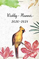 Weekly Planner 2020-2021: Yellow Floral Design Weekly and Monthly Planner   Perfect Gift for Girl Women Friends and Colleagues
