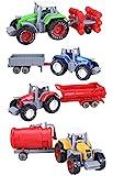 4個セット ミニ アロイ農業トラクター 牽引 トレーラーミニカー 車のおもちゃ ごっこ遊び 車両の再生セット - ディスクプラウ、ウォータータンク、ワゴン、ダンプのトレーラー (¥ 1,650)