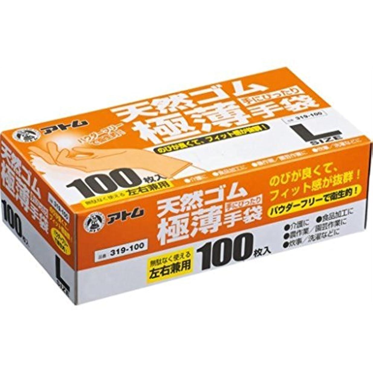 トラック包括的バッジ(まとめ買い)アトム 極薄手袋パウダーフリーL乳白100枚 319-100 【×3セット】