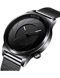 腕時計、メンズ腕時計、ビジネスデザインシンプルなスポーツブラックウォッチアナログクォーツ腕時計スリムミラネーゼメッシュバンドウォッチ