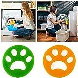 Reusable Pet Hair Remover Brush, Cat Lint Dog Fur for Laundry Washing Machine (1 Green + 1 Orange, Round)