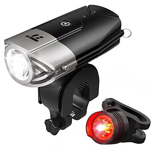 自転車ライト テールライト付 TaoTronics USB充電式 ヘッドライ...