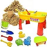 室内砂遊びの決定版 chirakasand 【 チラカサンド (1kg) & テーブル セット 】 安全基準CE取得済 【 型 バケツ スコップ 付き 】 不思議な砂 ふしぎな砂 砂場 セット 砂 おもちゃ 室内 砂遊び