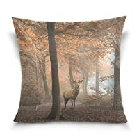 枕カバー、秋の森のカエデ木綿枕カバー18×18インチの双子の側、動物の鹿枕カバーシャムカバー